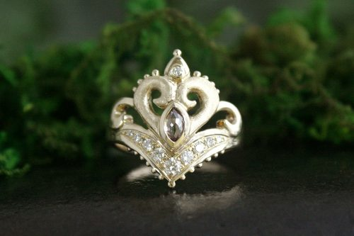 Jasmine Rose Cut Champagne Diamond Ring