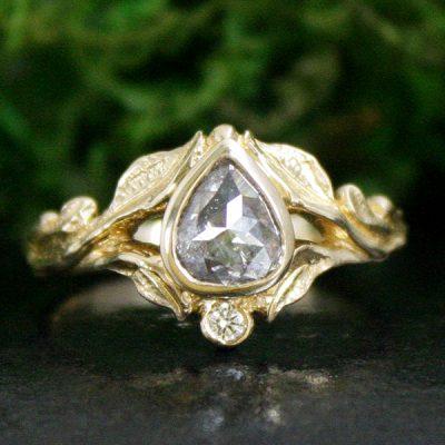 Grey Diamond Leaf Ring