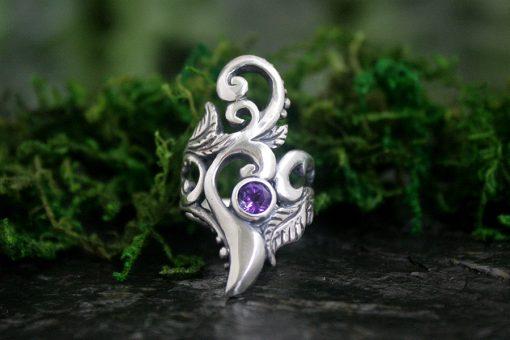 Amethyst Artemis Silver Statement Ring