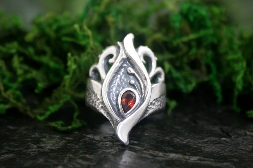 Silver and Garnet Seed of Life Ring