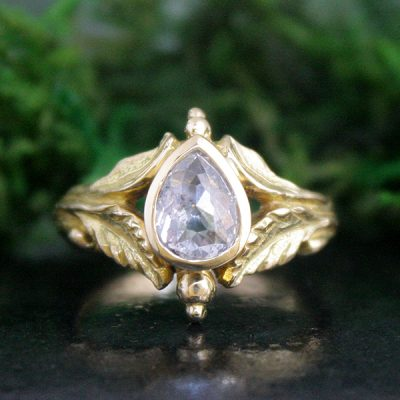 18k Gold and Rose Cut Diamond Engagement Ring