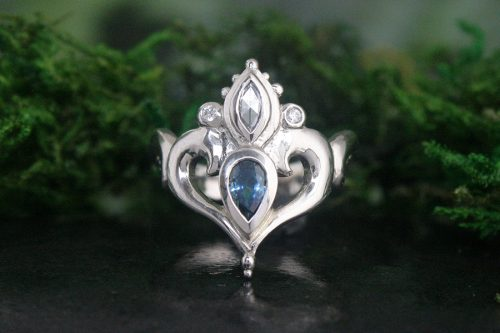 Teal Sapphire and Rose Cut Diamond White Gold Ring