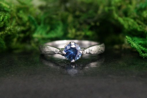 Teal Sapphire White Gold Engagement Ring