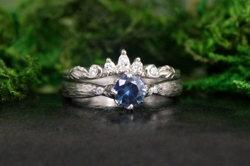 Teal Sapphire Diana Engagement Ring and Crown Diamond Wedding Ring