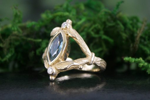 Green Sapphire Woodland Style Yellow Gold Ring