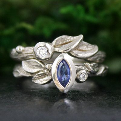 Climbing Ivy and Dawn Bridal Ring Set