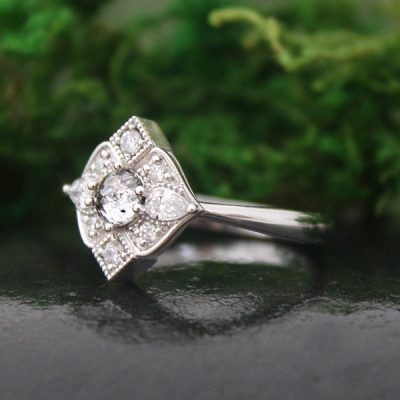 Antique Style Multi-Diamond Ring in 14k White Gold