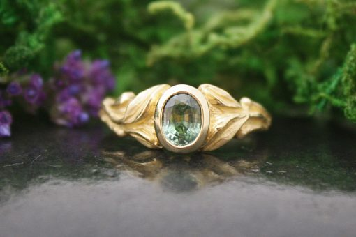 Valerian Green Sapphire Engagement Ring