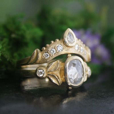 Tulip Ring Bridal Set with Diamond in 18K Gold