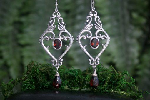 Garnet and silver Zahara earrings