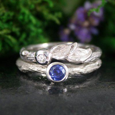 Sapphire and Diamond Engagement Ring Set