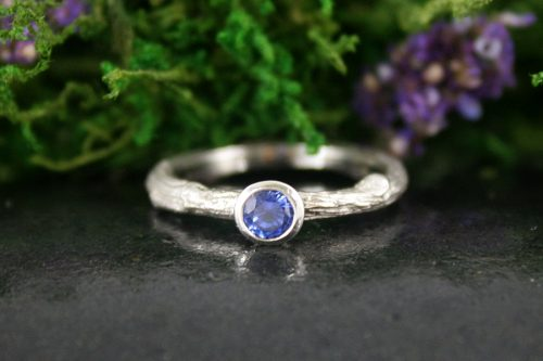 Sapphire Twig Ring in 14k White Gold