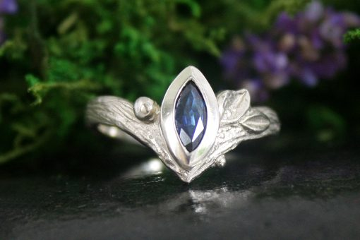 Marquise Shaped Blue Sapphire Leaf Ring