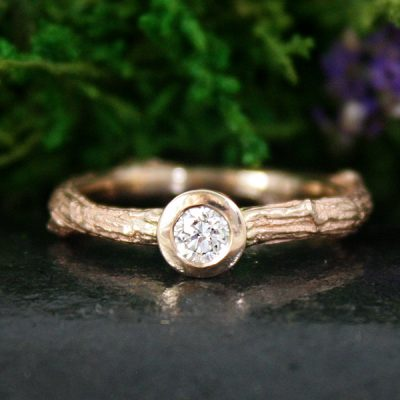 Rose Gold Diamond Branch Ring