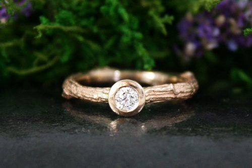 Rose Gold Diamond Branch Ring