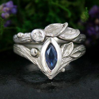 Sapphire and Diamond Leaf Ring Wedding Set