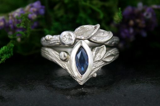 Sapphire and Diamond Leaf Ring Wedding Set