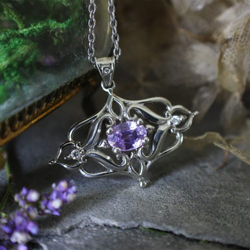 Lavender sapphire pendant