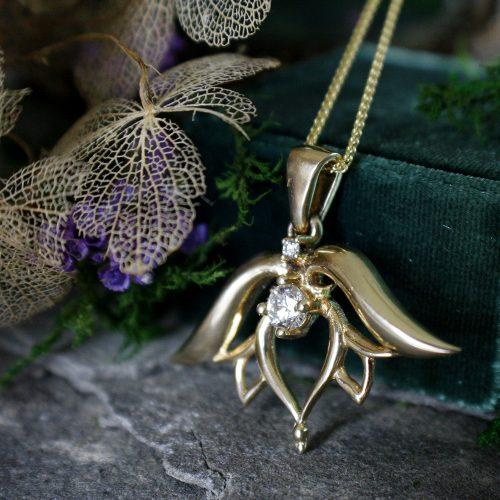 Diamond Lotus Pendant