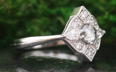 Antique Style White Gold Ring-The Evelyn Ring