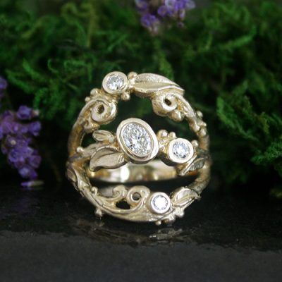 Tree of Life Diamond Ring in 14k Gold