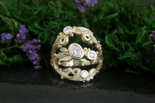 Tree of Life Diamond Ring in 14k Gold