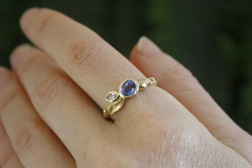 Sapphire and Diamond Floret Ring in 14k Gold