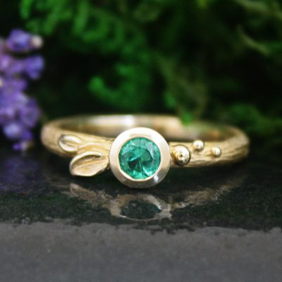 Petite Petal Emerald Leaf Stacking Ring