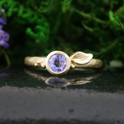 Light Blue Sapphire Petal Ring in 14k Gold