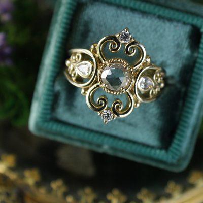 Luna Rose Cut Diamond Ring in 14k Gold