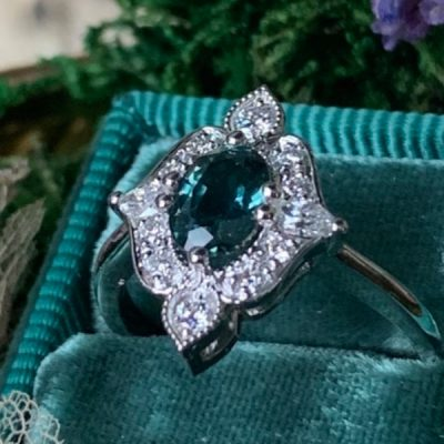 Delilah Antique Style halo Ring with Teal Sapphire in 14k White Gold