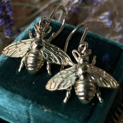 Little Honey 14k Gold Bee Dangle Earrings