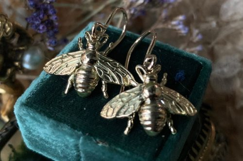 Little Honey 14k Gold Bee Dangle Earrings