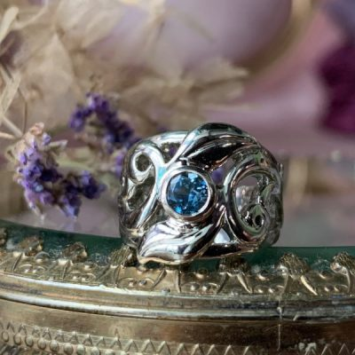 Desire Ring in Teal Sapphire and 14k White Gold