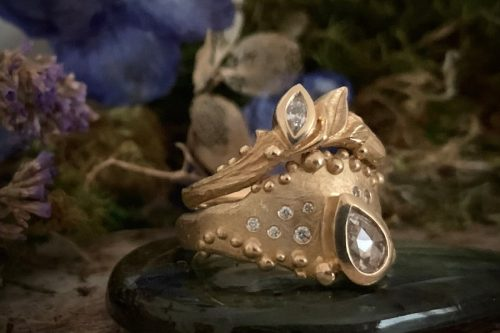 Rising Tide Ring with Leafy Sprite Crown Ring