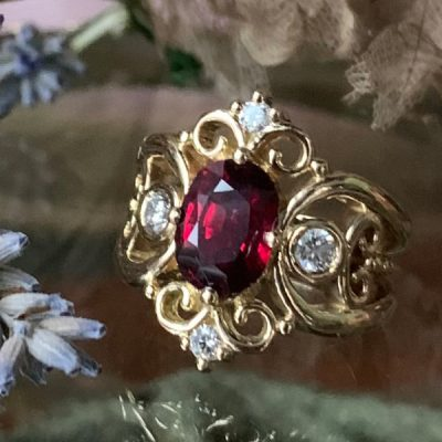 Tatiana Ring with Ruby, Diamonds in 18k Gold