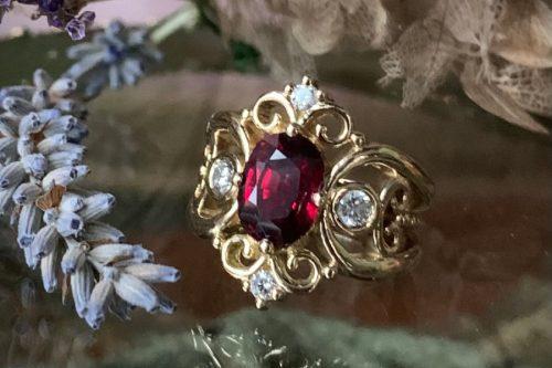 Tatiana Ring with Ruby, Diamonds in 18k Gold