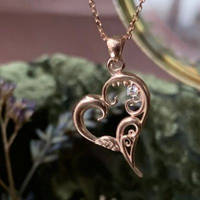 Tendrils of Love Heart Pendant with Diamond