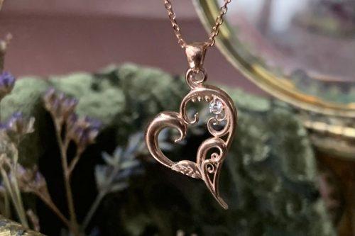 Tendrils of Love Heart Pendant with Diamond