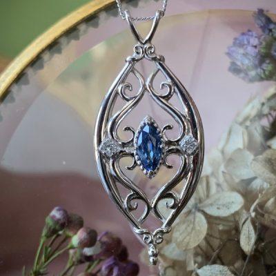 Lila Blue Sapphire and Diamond Statement Pendant in 14k White Gold