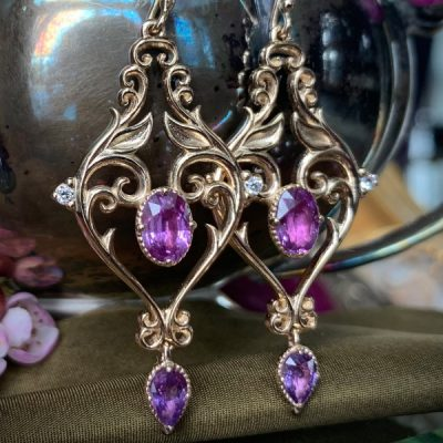 Zahara Purple Sapphire Drop Earrings