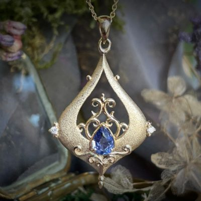 The GateKeeper Pendant in 14k Gold with Sapphire and Diamonds