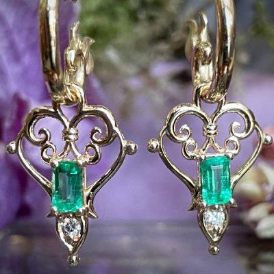 Primavera Emerald and Diamond Earrings