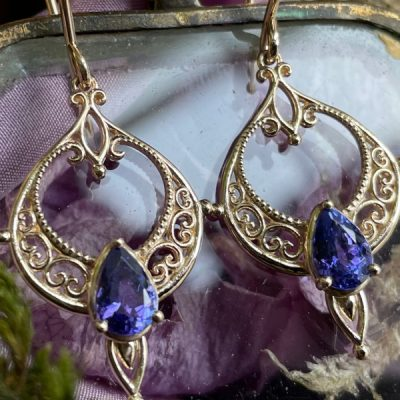 Lace Wing Earrings with Tanzanite in 14k Yellow Gold