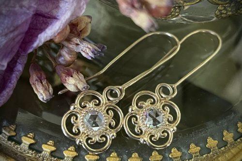 Blossom Drop Rose Cut Diamond Earrings in 14k Gold