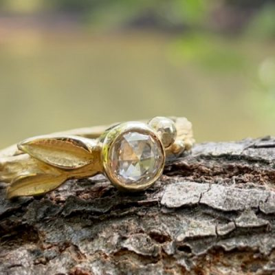 Dryad Rose Cut Diamond Leaf Ring in 14k Gold