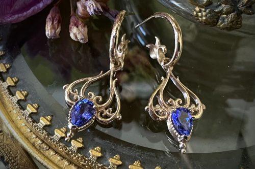 Tanzanite Charm Earrings in 14k Gold
