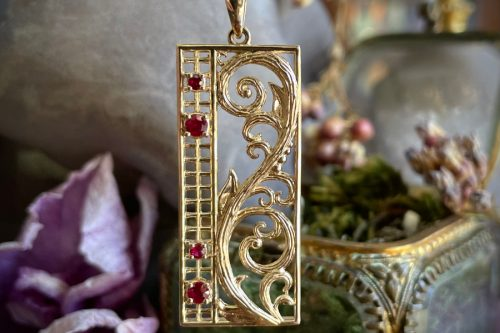 Antique Lace Pendant in 14k Gold and Rubies