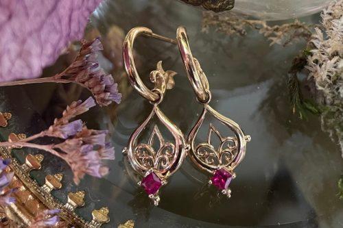 Spring Rain Ruby Earrings in 14k Gold