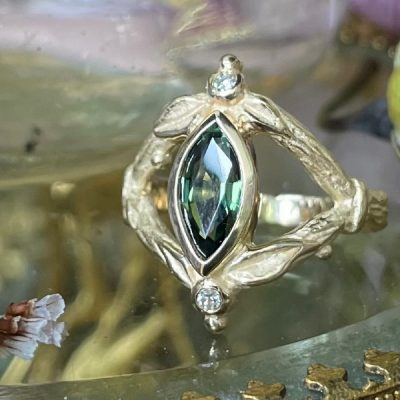 Green Sapphire and Diamond Ring in 14K Gold